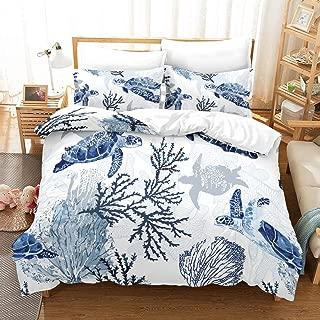 Comfortable home Retro Blue sea Turtle Bedding Sets Full 100% Microfiber 3D Printed Duvet Cover Sets,Mediterranean Style bedcover Quilt 1 Duvet Cover 2 Pillowcase,No Comforter/Quilt (Queen(90''x90''))