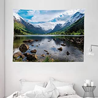 """Ambesonne Nature Tapestry, Mountains River and Open Sky Natural Beauties Norway Fjords Nordic Landscape, Wide Wall Hanging for Bedroom Living Room Dorm, 80"""" X 60"""", White Green"""