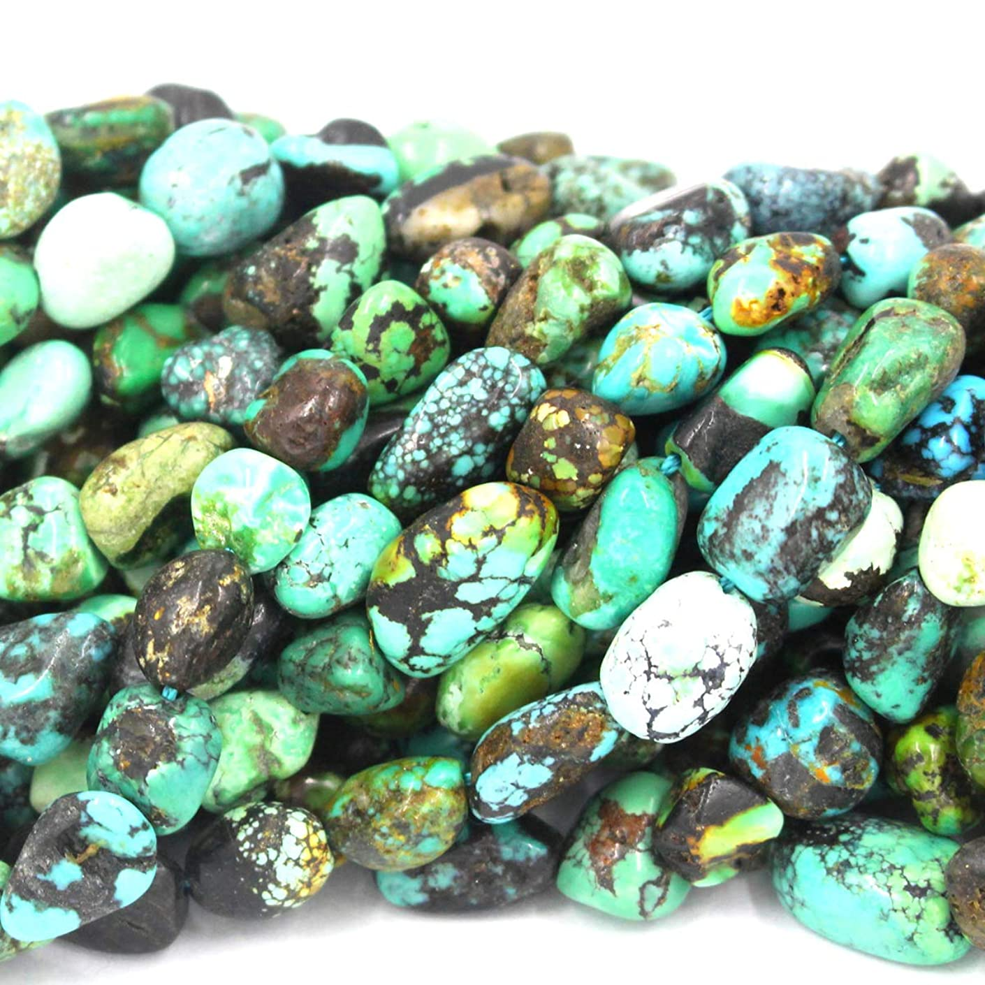 Natural Gemstone Beads Nuggets 8-10mm for Jewelry Making Loose Beads (Natural Turquoise)