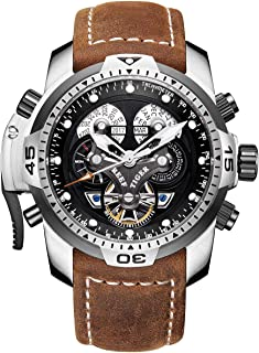 Mens Sport Watches Complicated Black Dial Steel Case Automatic Watch Military Watches RGA3503