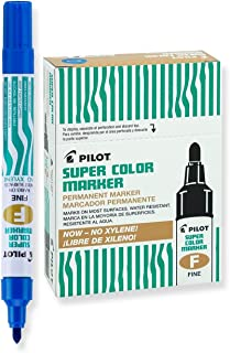 PILOT Super Color Refillable Permanent Markers, Xylene-Free Blue Ink, Fine Point, 12-Pack (40700)