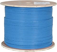 Vertical Cable Cat6A 10G, Shielded, 23AWG, Solid Bare Copper, PVC, 1000ft, Blue, Bulk Ethernet Cable