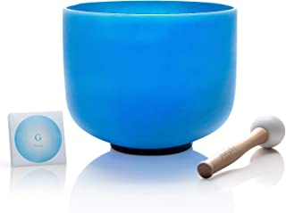 TOPFUND G Note Quartz Crystal Singing Bowl Throat Chakra Blue Color 8 inch O-ring and Rubber Mallet included