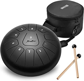 Moukey Mini Tongue Drum Steel Percussion Hang Drum 11 Notes 10 Inches with Padded Travel Bag