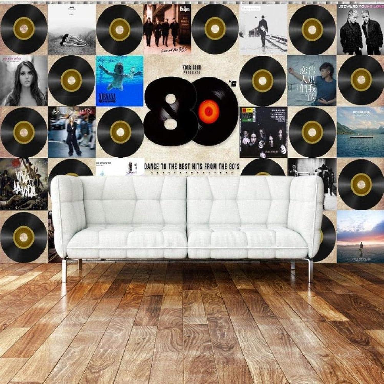 tienda de descuento Papel tapiz tapiz tapiz fotográfico Papel tapiz personalizado Retro Vintage Records Bar TV Parojo Telón de fondo salón dormitorio papel tapiz mural200cmx345cm  mejor vendido