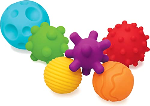 Infantino Balles Souples Sensorielles - 6 balles souples aux formes et tailles différentes pour le développement sens...