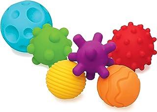 Infantino Sensory Plug en Roll Multiblokken, Getextureerde Multiballen Set voor Kinderen, Set van 6 Ballen, Meerkleurig