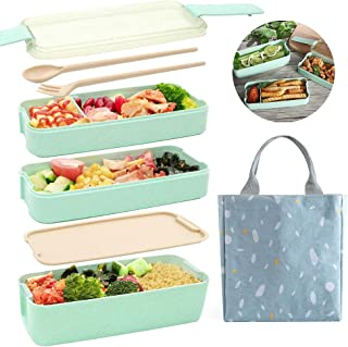 TAOCCI Bento Box Japanese Lunch Box,3-In-1 Compartment - Wheat Straw, Leakproof Eco-Friendly Bento Lunch Box Meal Prep Containers for Kids & Adults (Green)