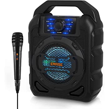 EARISE T15 Portable Bluetooth Karaoke Machine for Kids & Adults, Wireless PA Speaker System with Lights, Wired Microphone, FM Radio, Supports TF Card/USB, AUX-IN, Perfect for Party
