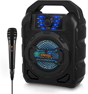 EARISE T15 Portable Karaoke Speaker for Kids & Adults, PA System Bluetooth Speaker with Lights, Wired Microphone, FM Radio, Supports TF Card/USB, AUX-IN, Perfect for Party