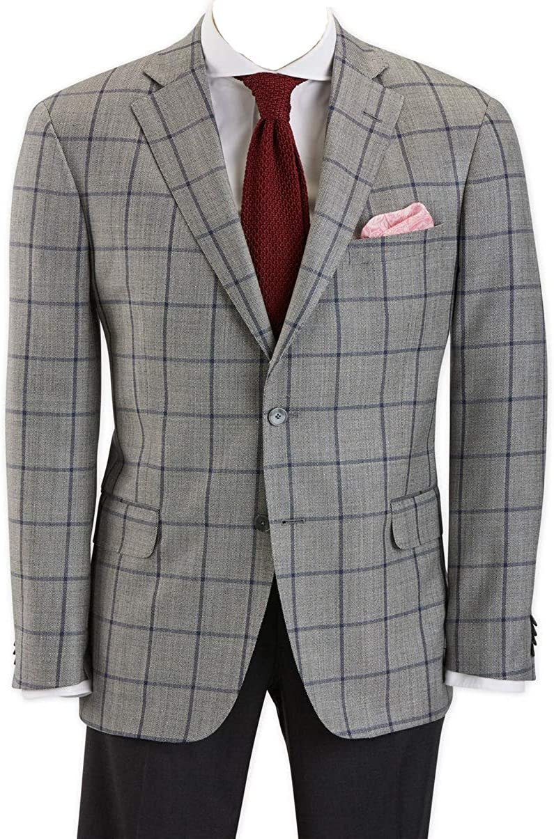 EZ Tuxedo Hardwick Modern Fit Grey with Navy Windowpane Sport Coat