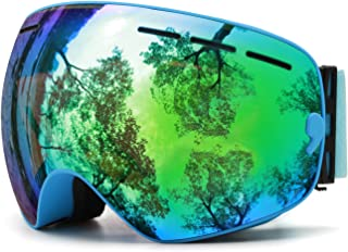 Juli OTG Ski Goggles,FramelessOverGlassesSkiing SnowGogglesforMenWomen&Youth-100% UVProtectionDualLens(BlueFrame+VLT 18% withREVO Green)
