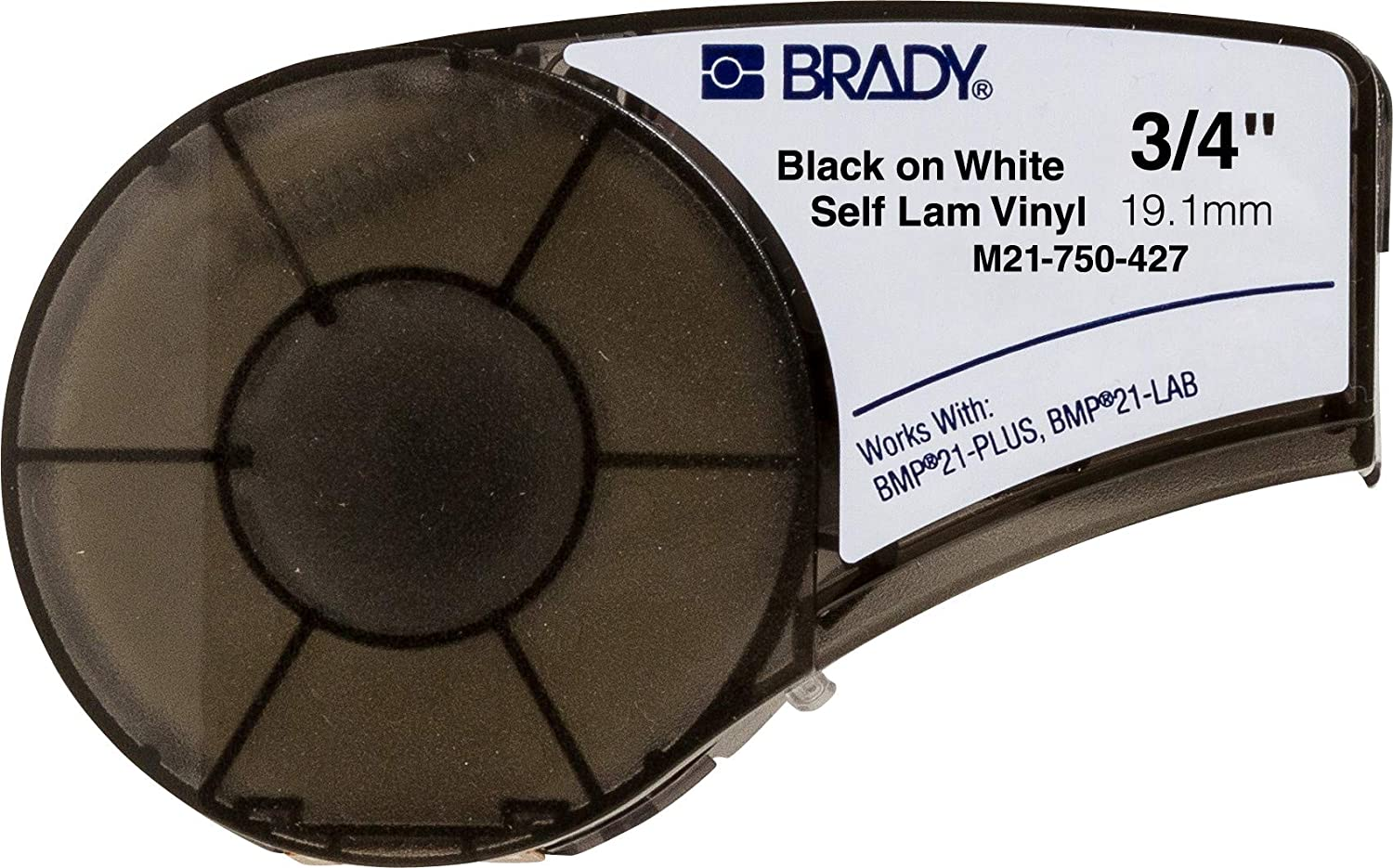 Brady Authentic (M21-750-427) Self-Laminating Wire Wrap for Control Panels, Electrical Panels and Datacom Cable Labeling, Black on White material - Designed for BMP21-PLUS and BMP21-LAB Label Printers, .75