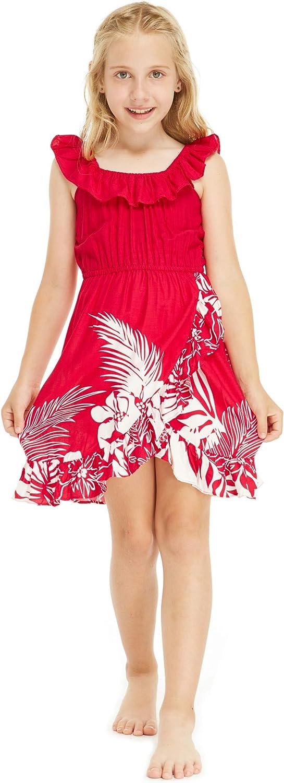Girl Ruffle Wrap Hawaiian Luau Dress in Indri