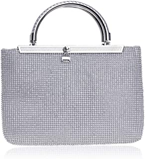 Runhuayou Ladies Rhinestone Crystal Clutch Bag Evening Bag Fashion Party Zipper Banquet Portable Nuptial Bag Amber/Silver Great for Casual or Many Other Occasions Such (Color : Silver)