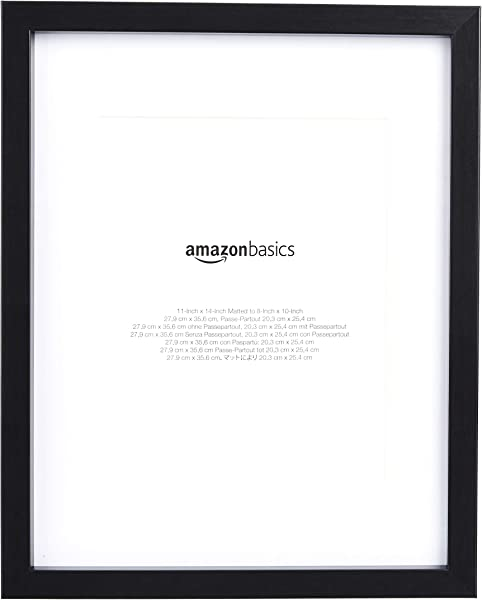 AmazonBasics 11 X 14 Photo Picture Frame With 8 X 10 Mat Black 2 Pack