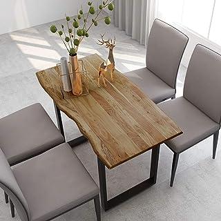 Tidyard Table de salle à manger industrielle en bois d'acacia massif 118 x 58 x 76 cm