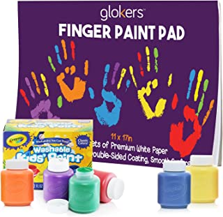 glokers Finger Paint Paper Pad Bundle with 6 Non-Toxic Crayola Washable Paints for Toddlers | Stamp Art Paper for Kids | Toddler Craft Painting Supplies | 50 Sheets of 11 x 17 Inches