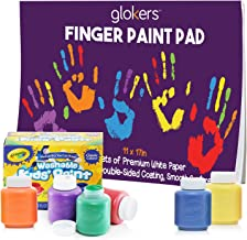 """glokers Kids Finger Paint Set – 6 Non-Toxic Crayola Washable Kids Paint, 11x17"""" Finger Paint Pad with 50 Sheets"""