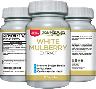 Pure White Mulberry Leaf Extract - Premium 1000mg - Natural Blood Sugar Stabilizing & Weight Loss Support Supplement - Antioxidant Rich & High in Fiber and Protein
