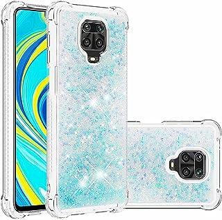 Lijc Xiaomi Redmi Note 9S/9 Pro/9 Pro Max Fodral Glitter Flytande kvicksand Transparent av Four Corners Anti-Fall TPU Stöt...