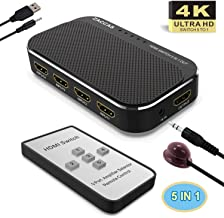 HDMI Switch 4k HDMI Splitter-ZACCASAluminum HDMI Switch 5 in 1 Out, HDMI Switch with IR Remote Control, HDMI Switcher Supports 4k@30HZ 3D HD1080P for PS4 Xbox Apple TV Fire Stick Blu-Ray Player