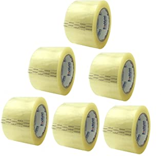 BoxMates Packing Tape(Pack of 6) 2.0mil 3inch Wide 110Yards per Roll Sealing Adhesive Tape for Packing Moving Shipping