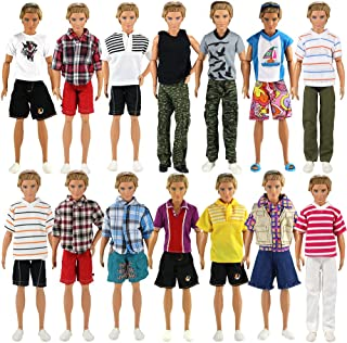 BARWA Lot 3 Sets Fashion Outfit Clothes 3 Tops with 3 Trousers for 12 inch Boy Friend Doll