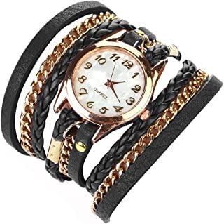 Habors Leather Multiband Classic Watch Bracelet with Chains for Women (Black)