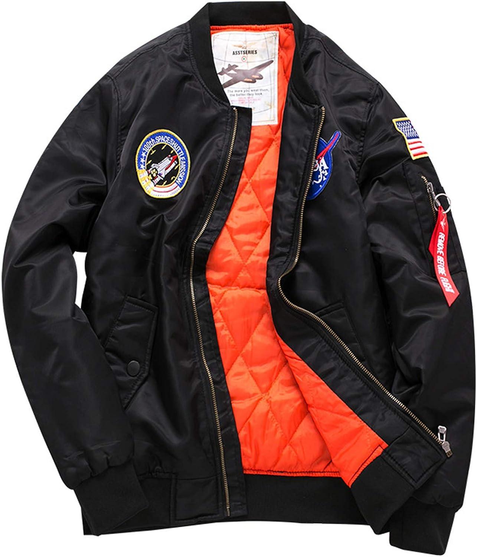 Mens NASA MA-1 Bomber Flight Jacket Outwear Windbreaker Street Coat