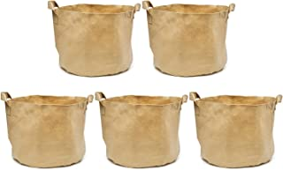 247Garden 7-Gallons Tan Fabric Pots w/Handles & Black Base, 5-Packs Planter Aeration Grow Bags for Plants, Vegetables, Flowers, Potato, Tomato & Fruit Trees