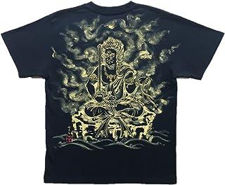不動明王座像 Tシャツ 白黒 半袖 和柄 仏画 日本画 手描き 墨絵 伯舟庵