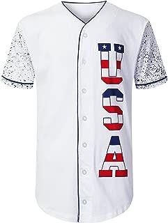 URBANCREWS Mens Hipster Hip Hop Button-Down Baseball Jersey Short Sleeve Shirt