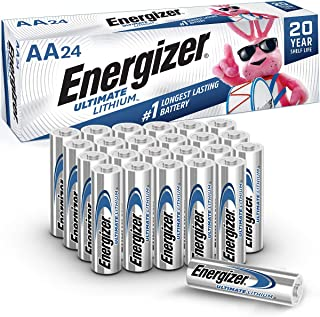 Energizer AA Lithium Batteries, World's Longest Lasting Double A Battery, Ultimate Lithium (24 Battery Count)