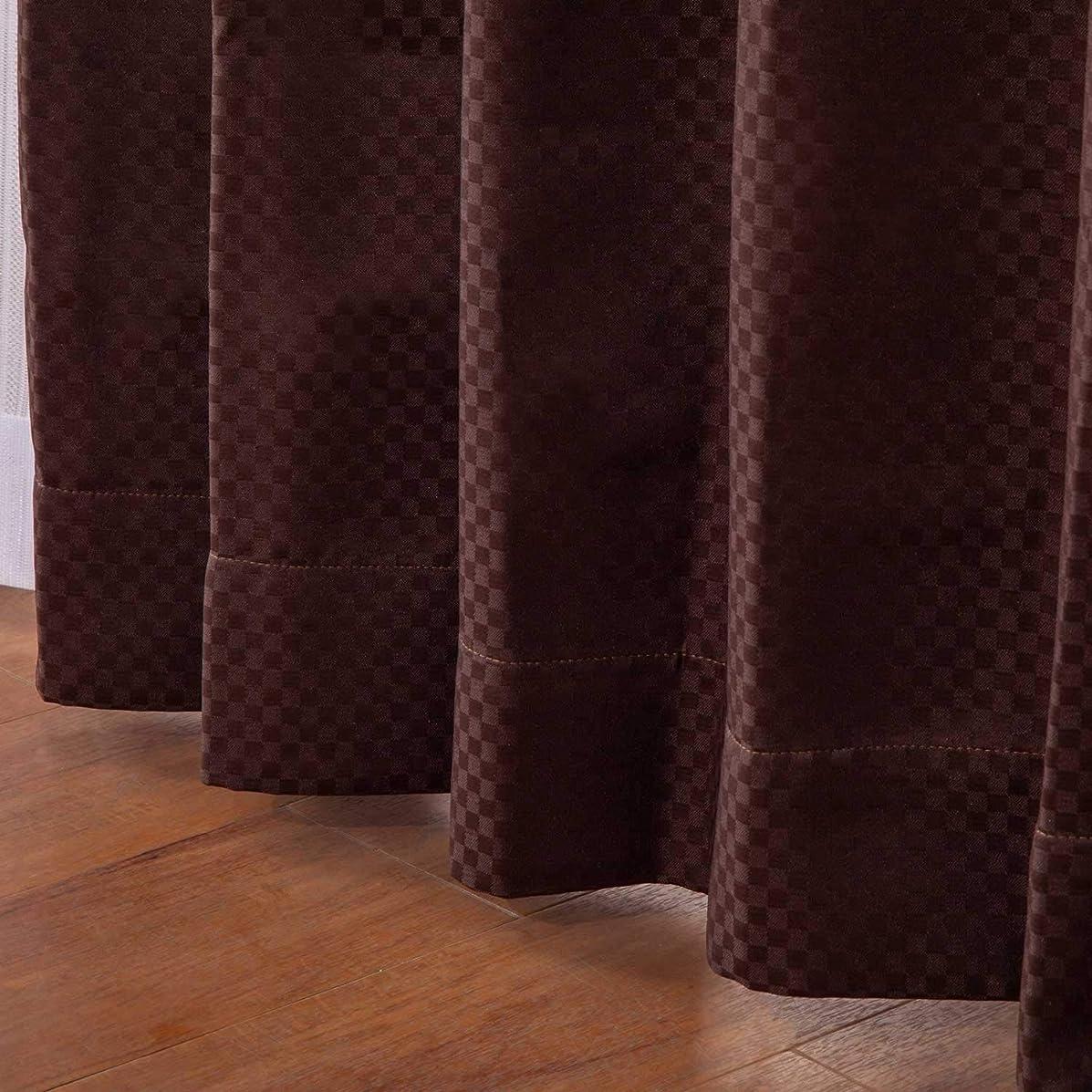 ハンドブック偏見リスト【オーダーカーテン】形状記憶加工 シフォン ブラウン 幅100cm×丈125cm 1枚入 3色×518サイズ