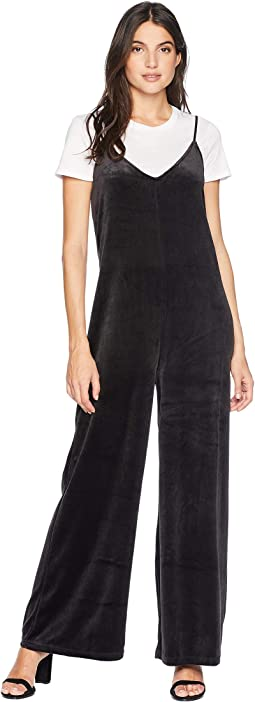 Track Lightweight Velour Wide Leg Romper with Tee