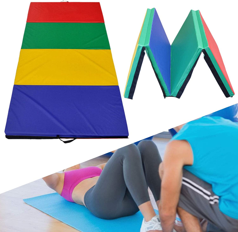 HITSAN 94x47x1.96 Inch 4 Folding Panel Gymnastics Mat Rainbow colors Gym Exercise Running Fitness Yoga Pad One Piece