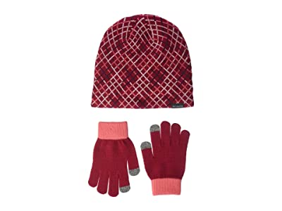 Columbia Kids Hat Glove Set II (Little Kids) (Pomegranate Grid) Beanies
