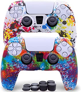 Sofunii 2 Pack Silicone Controller Skins Anti-Slip Cover Case Protector Sleeve for Playstation 5 /PS5 Controller with 8 x ...