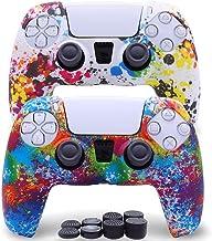 Pacote com 2 capas protetoras de silicone antiderrapantes para controle de PlayStation 5/PS5 com 8 tampas para polegar (br...