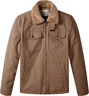 Men's Warm Quilted Lined Full Zip Jacket with Flannel Collar