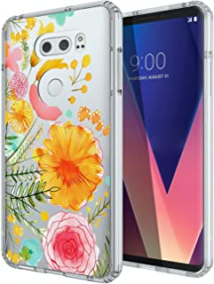 LG V30/LG V30 Plus/LG V30S ThinQ/LG V35/LG V35 ThinQ Case, SWODERS Flower Clear Design Shock Absorbing TPU + Hard PC Bumper Case Cover For LG V30/LG V30 Plus - Orange