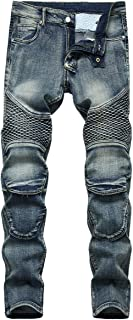 YOUTHUP Mens Ribbed Jeans Biker Denim Pants Jeans
