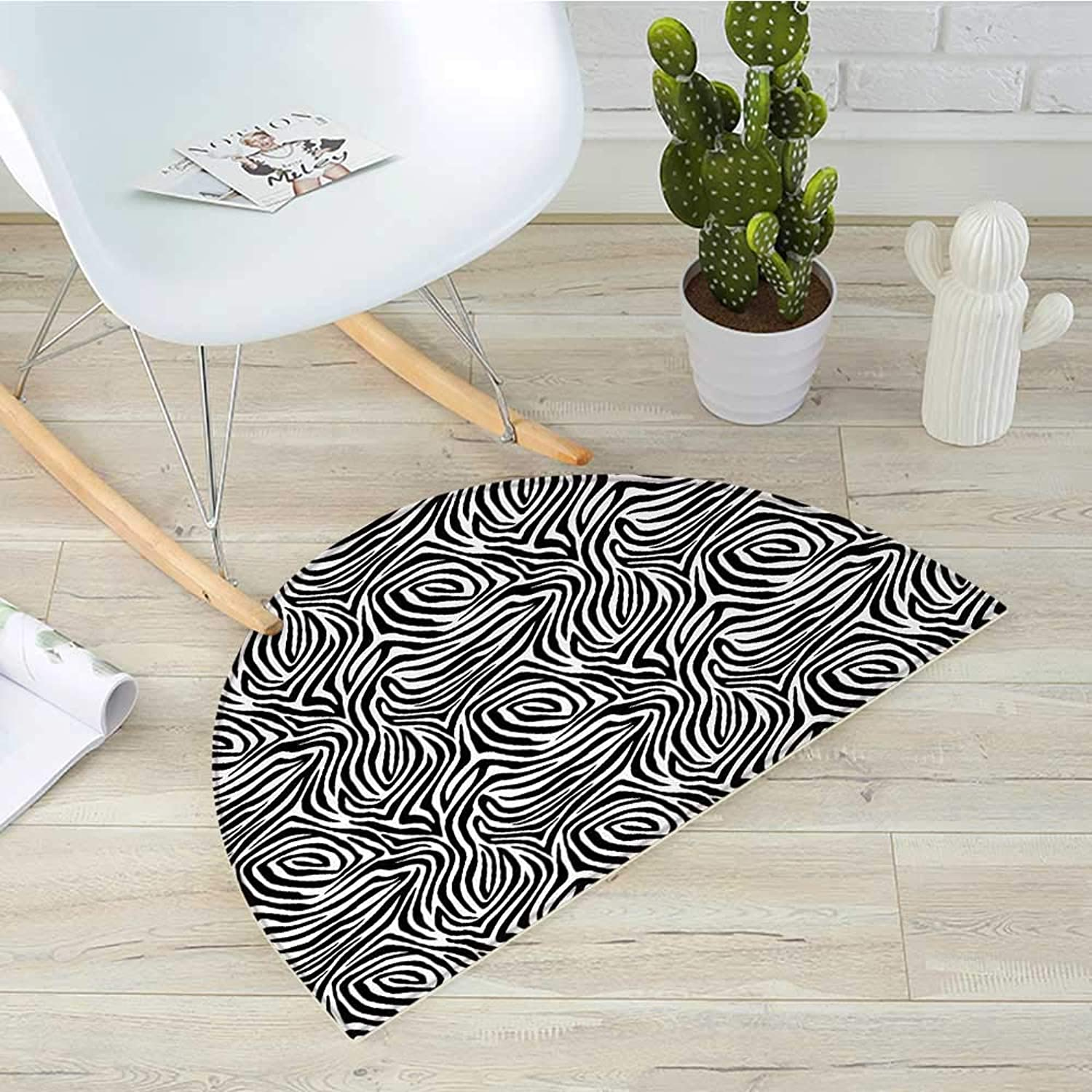 Stripes Semicircular CushionAfrican Zebra Skin Pattern with Abstract Lines Monochrome Wild Animal Hide Design Entry Door Mat H 31.5  xD 47.2  Black White