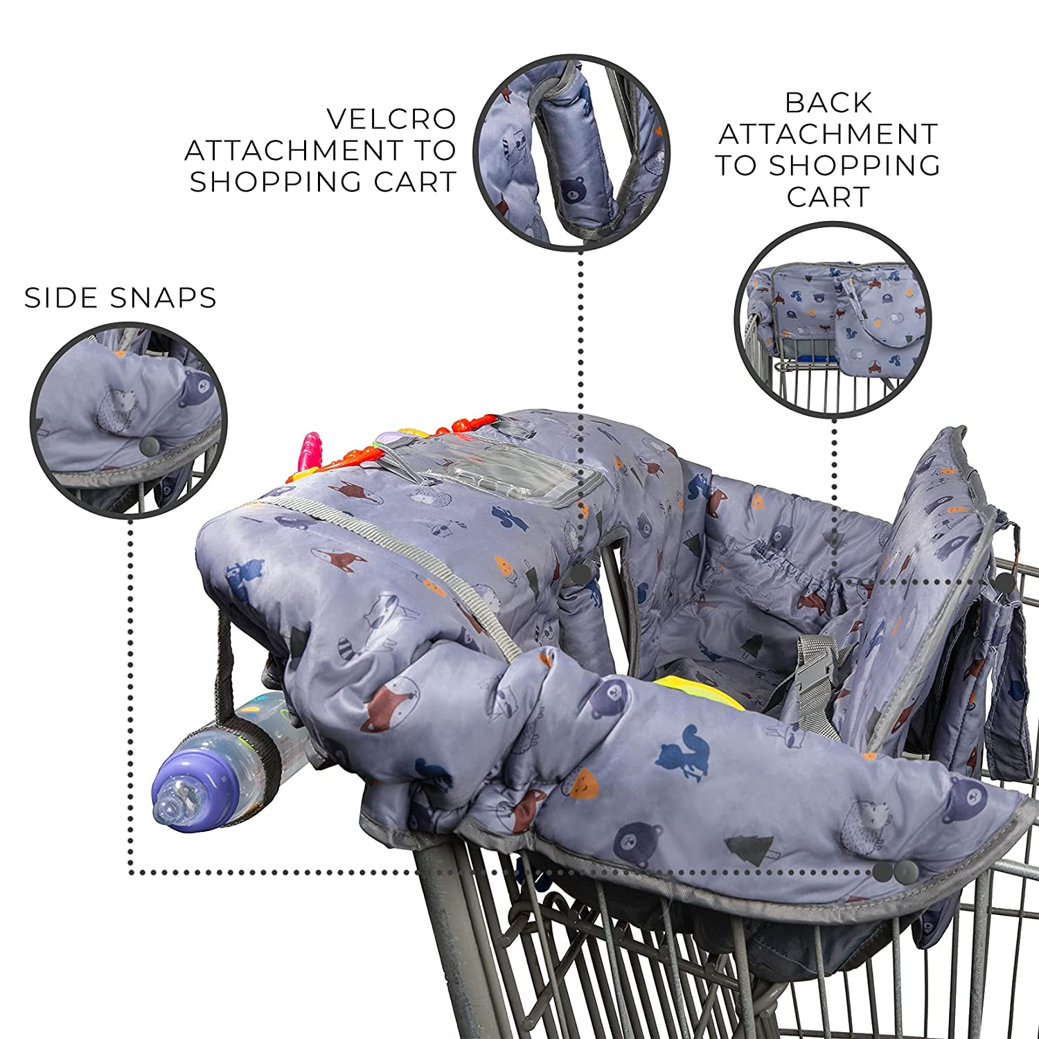 Joyrange Shopping Cart Cover for Baby or Toddler | 2-in-1 High Chair Cover | Universal Fit for Boy or Girl | Folds into Carry Bag | Machine Washable