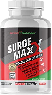 Potent Naturals Surge Maxx Testosterone Booster 120 V-Capsules | 1600 D-AA-CC with Vits D3, K2, B6, Zinc, Fenugreek, Ginseng | Enhances Strength, Energy, Stamina & Male Performance | Build Muscle