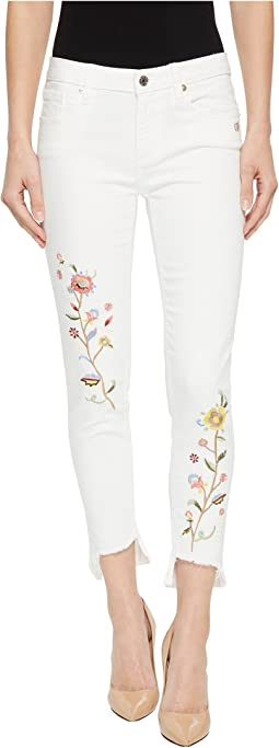 Ankle Skinny Jeans w/ Embroidery in White