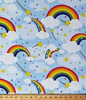 Cotton Rainbows Shooting Stars Clouds Blue Sky Kids Children's Emelia's Dream Cotton Fabric Print by The Yard (D695.33)