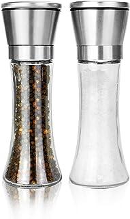 Maison & White Juego de 2 molinillos de sal y pimienta | Par de saleros con regordete ajustable | Molinos de especias de a...