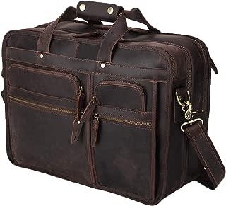 "Polare 17"" Retro Full Grain Italian Leather Messenger Shoulder Bag for Laptop Briefcase with YKK Metal Zipper"